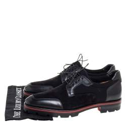 Christian Louboutin Black Leather And Suede 'Simon' Derby Size 41.5