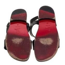 Christian Louboutin Black Leather Don Giovanni Flat Sandals Size 42