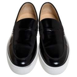 Christian Louboutin Black Glossy Leather Paqueboat Slip On Sneakers Size 45