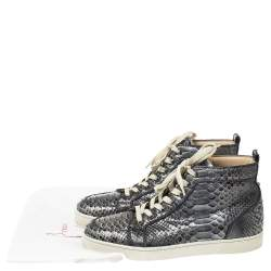 Christian Louboutin Blue Holographic Python Rantus Orlato High Top Sneakers Size 42.5