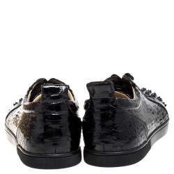 Christian Louboutin Black Shiny Python Louis Junior Spikes Sneakers Size 43.5