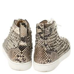 Christian Louboutin Beige Spike Python Louis High Top Sneakers Size 40.5