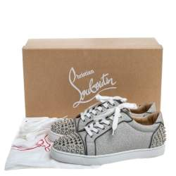 Christian Louboutin Metallic Silver Leather Vierissima Spikes Low Top Sneakers Size 39.5