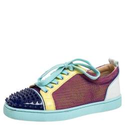 Christian Louboutin Multicolor Mesh And Leather AC Viera Spiked Orlato Low Top Sneakers Size 39.5