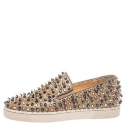 Christian Louboutin Brown Leather Roller Boat Spiked Slip On Sneakers Size 39