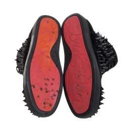 حذاء رياضي كريستيان لوبوتان بك بك رقبة مرتفعة سويدي أسود مرصع بأشواك متباينة الارتفاع مقاس 43