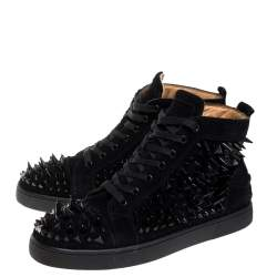 Christian Louboutin Black Suede Multi Level Spiked Pik Pik Louis High Top Sneakers Size 43