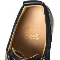 Christian Louboutin Navy Blue Suede and Leather Lace Up Sneakers Size 40.5