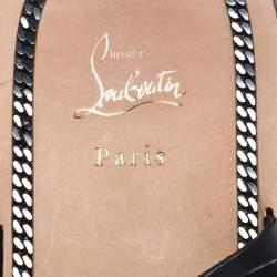 Christian Louboutin Black Leather Frere Simon Flat Sandals Size 45