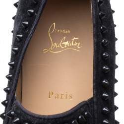 Christian Louboutin Black Suede Spike Pik Boat Slip On Sneakers Size 46