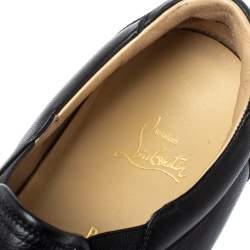 Christian Louboutin Black Leather Nazapunta Slip On Sneakers Size 46