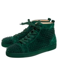 Christian Louboutin Green Suede Leather Louis Spikes High Top Sneakers Size 45