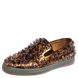 Christian Louboutin Multicolor Printed Patent Leather Roller Boat Pik Pik Slip On Sneakers Size 40