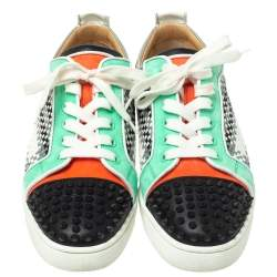 Christian Louboutin Multicolor Suede And Patent Leather Louis Junior Spikes Orlato Low Top Sneakers Size 40