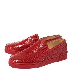 Christian Louboutin Red Python Roller Boat Spiked Slip On Sneakers Size 43