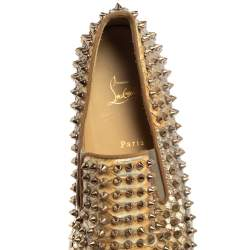 Christian Louboutin Ombre Gold Python Pik Boat Spike Slip On Sneakers Size 45
