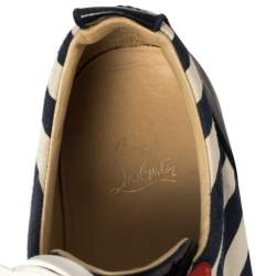 Christian Louboutin Multicolor Canvas And Leather Varsi Junior Spikes 2019 Sneakers Size 45