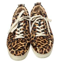 Christian Louboutin Brown Leopard Calfhair Rantulow Orlato Low Top Sneakers Size 46