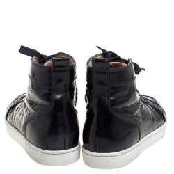 Christian Louboutin Black Croc Embossed Leather Rantus High Top Sneakers Size 43