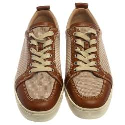 Christian Louboutin Beige/Brown Canvas and Leather Rantulow Sneakers Size 42