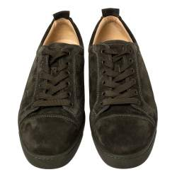 Christian Louboutin Dark Green Suede Low Top Sneakers Size 42.5
