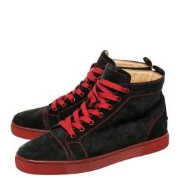Christian Louboutin Black Suede Louis High Top Sneakers Size 42