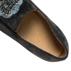 Christian Louboutin Grey Suede Embellished 'Ecuboat' Slip on Sneakers Size 45.5