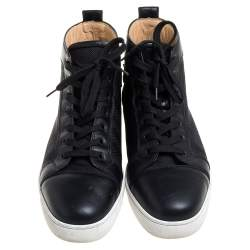 Christain Louboutin Black Leather And Canvas  Louis Orlato High top Sneaker Size 45