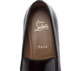 Christian Louboutin Burgundy Leather Dandelion Smoking Slippers Size 41.5