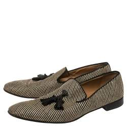 Christian Louboutin Two Tone Canvas Dandelion Tassel Loafers Size 44