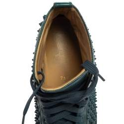 Christian Louboutin Teal Green Leather Louis Spike High Top Sneakers Size 41