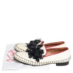 Christian Louboutin Cream Leather Tassel Loafers Size 41