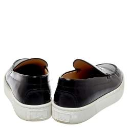 Christian Louboutin Black Patent Leather Paqueboat Slip On Sneakers Size 45