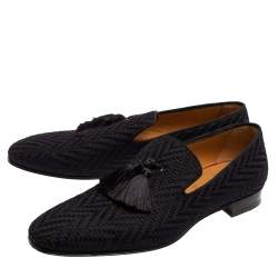Christian Louboutin Blue Woven Fabric Officialito Tassel Loafers Size 43