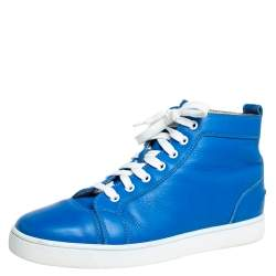 Christian Louboutin Blue Leather Louis Flat High Top Sneakers Size 42