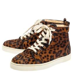 Christian Louboutin Brown Leopard Print Calf Hair Rantus Orlato High Top Sneakers Size 41