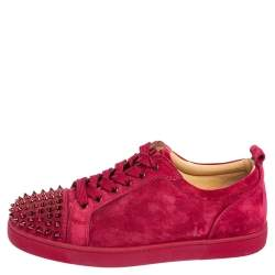 Christian Louboutin Fuchsia Suede Louis Junior Spikes Low Top Sneakers Size 41.5