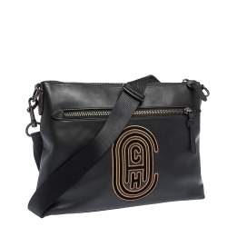 Coach Black Logo Patch Leather Rivington Messenger Bag