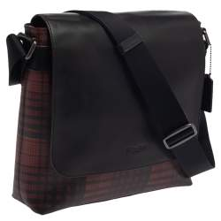 Coach Black/Red Plaid Print Coated Canvas and Leather Charles Messenger Bag