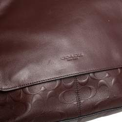 Coach Brown Signature Embossed Leather Charles Messenger Bag