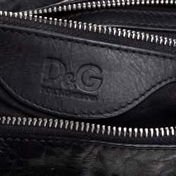 D & G Black Leather Alan Messenger Bag