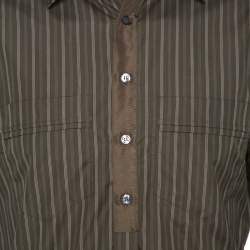 D & G Khaki Green Striped Cotton Slim Fit Shirt XXL