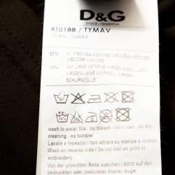 D & G Olive Green Logo Embroidered Knit V Neck T-Shirt S