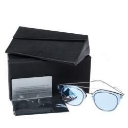 Dior Homme Silver Tone/ Blue Mirrored DiorComposit1.0 Aviator Sunglasses