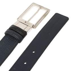 Dior Black/Blue Leather Reversible Belt 114CM