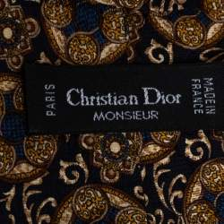 Dior Vintage Multicolor Printed Silk Traditional Tie