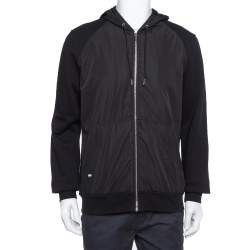 Dior Homme Black Cotton & Synthetic Paneled Hoodie XL