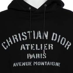Dior Homme Black Cotton Logo Detail Hooded Oversized Sweatshirt XS