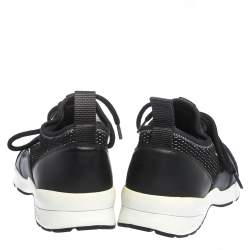 Dior Homme Black Leather And Stretch Knit Lace Up Sneakers Size 39