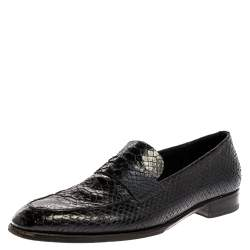 Dior Black Python Leather Penny Loafers Size 44